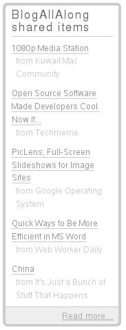 Google Reader Shared Items