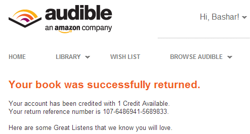 audible book return option